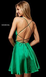 Image of open-back silk homecoming dress by Sherri Hill. Style: SH-52156 Back Image