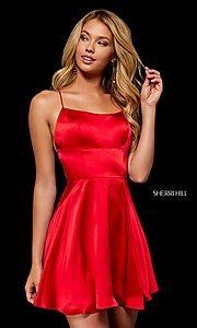 Image of open-back silk homecoming dress by Sherri Hill. Style: SH-52156 Detail Image 1