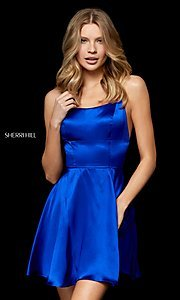 Image of open-back silk homecoming dress by Sherri Hill. Style: SH-52156 Detail Image 2