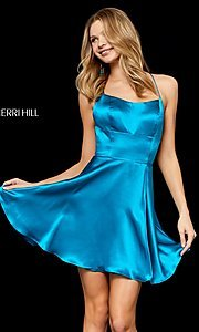 Image of open-back silk homecoming dress by Sherri Hill. Style: SH-52156 Detail Image 3