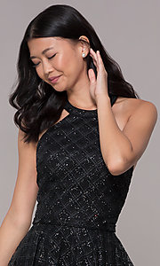 Image of short black tulle racer-front homecoming party dress. Style: FB-GS1631 Detail Image 1