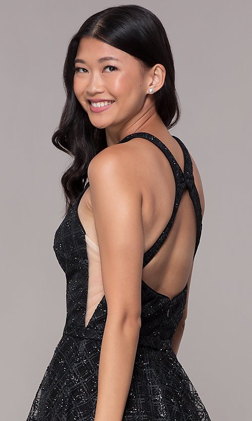 Image of short black tulle racer-front homecoming party dress. Style: FB-GS1631 Detail Image 2