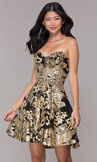 Black and Gold Sequin-Print Strapless Homecoming Dress