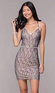 Image of short deep-v-neck homecoming corset-tie dress. Style: FB-GS1634 Detail Image 1