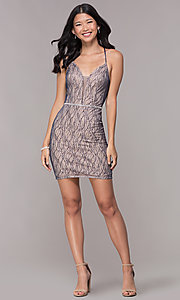 Image of short deep-v-neck homecoming corset-tie dress. Style: FB-GS1634 Detail Image 3