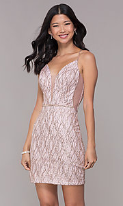 Image of short deep-v-neck homecoming corset-tie dress. Style: FB-GS1634 Front Image