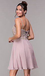 Image of short homecoming sweetheart party dress by PromGirl. Style: FB-PL-GS1636 Back Image