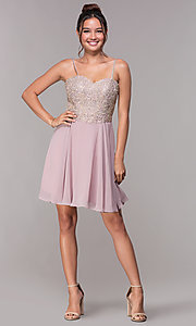 Image of short homecoming sweetheart party dress by PromGirl. Style: FB-PL-GS1636 Detail Image 3