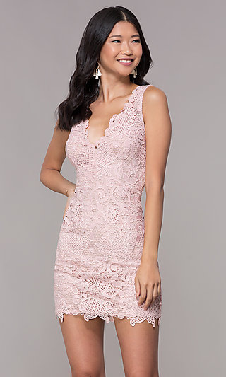 V-Neck Embroidered-Lace Short Homecoming Dress