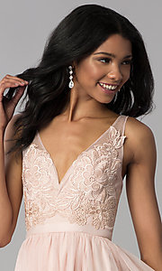 Image of lace-applique v-neck short homecoming dress. Style: LP-27403 Detail Image 1