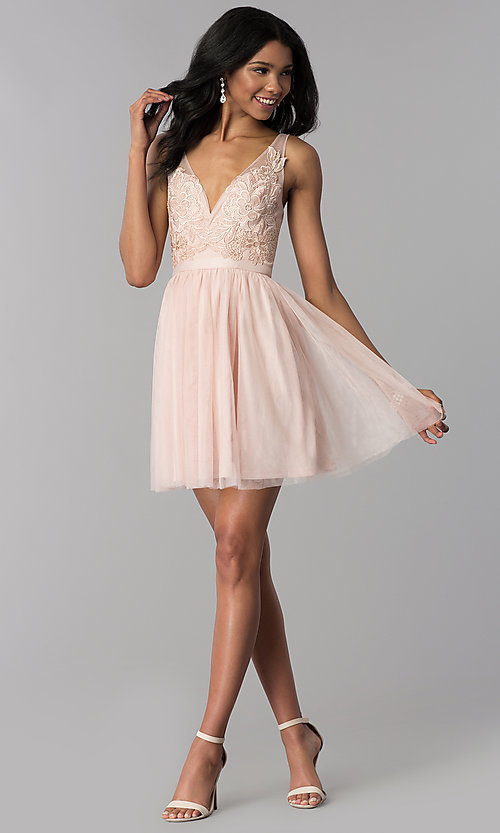 Image of lace-applique v-neck short homecoming dress. Style: LP-27403 Detail Image 3