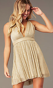 Image of v-neck metallic homecoming short party dress. Style: LP-27728 Detail Image 7