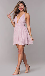 Image of v-neck metallic homecoming short party dress. Style: LP-27728 Detail Image 3