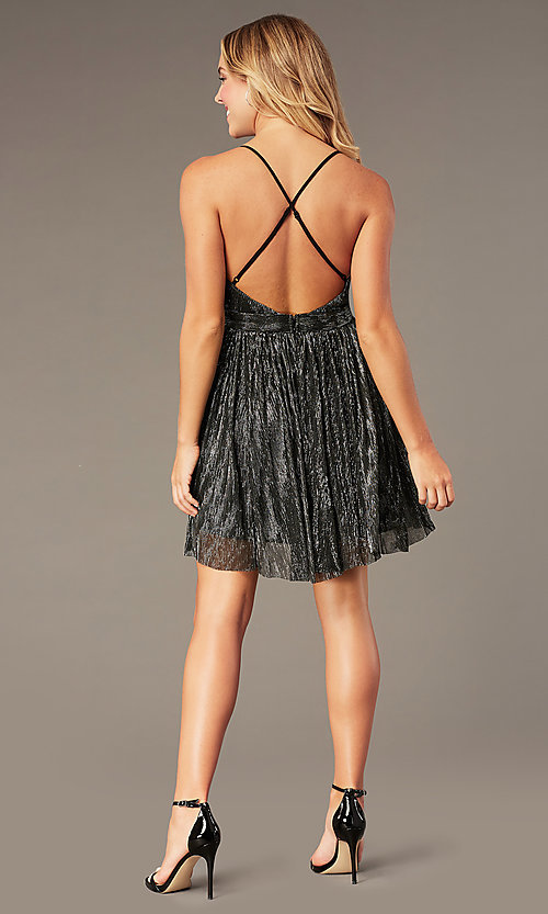 Image of v-neck metallic homecoming short party dress. Style: LP-27728 Detail Image 5