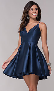 Image of fit-and-flare short v-neck homecoming party dress. Style: LP-27732 Front Image