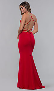 Image of jersey long open-back formal dress. Style: LP-27726 Front Image
