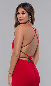 Image of jersey long open-back formal dress. Style: LP-27726 Detail Image 3