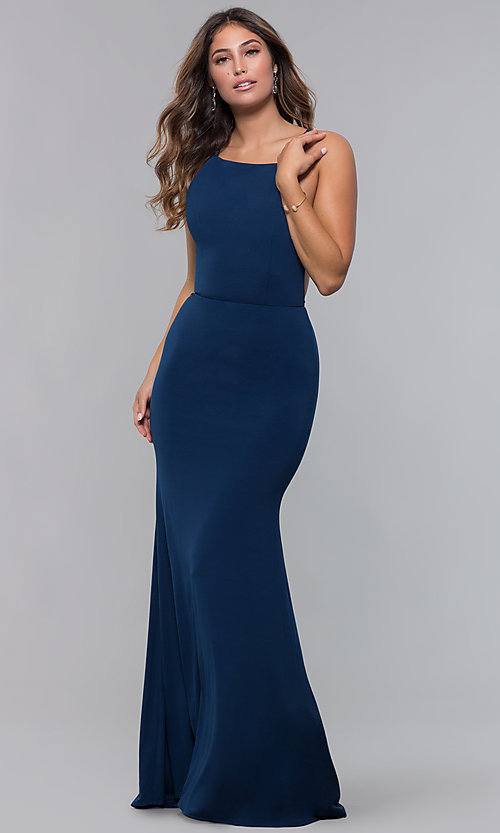 Image of jersey long open-back formal dress. Style: LP-27726 Detail Image 4