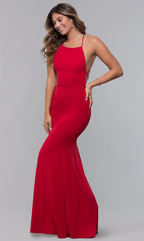 Image of jersey long open-back formal dress. Style: LP-27726 Back Image
