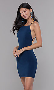 Image of short square-neck open-back homecoming party dress. Style: LP-27693 Front Image