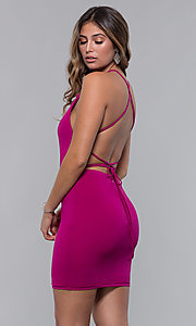 Image of short square-neck open-back homecoming party dress. Style: LP-27693 Detail Image 4