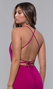 Image of short square-neck open-back homecoming party dress. Style: LP-27693 Detail Image 6