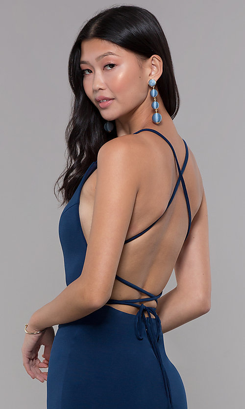 Image of short square-neck open-back homecoming party dress. Style: LP-27693 Detail Image 1