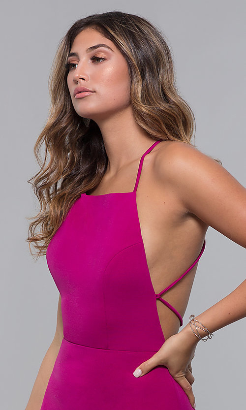 Image of short square-neck open-back homecoming party dress. Style: LP-27693 Detail Image 5