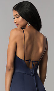 Image of surplice-v-neck long prom dress with side slit. Style: LP-25566 Detail Image 3