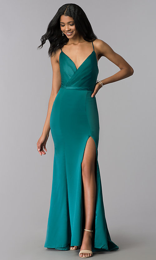 Image of surplice-v-neck long prom dress with side slit. Style: LP-25566 Front Image
