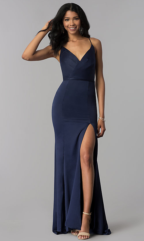 Image of surplice-v-neck long prom dress with side slit. Style: LP-25566 Detail Image 1