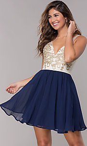 Image of sleeveless short homecoming dress with applique. Style: LP-27705 Front Image