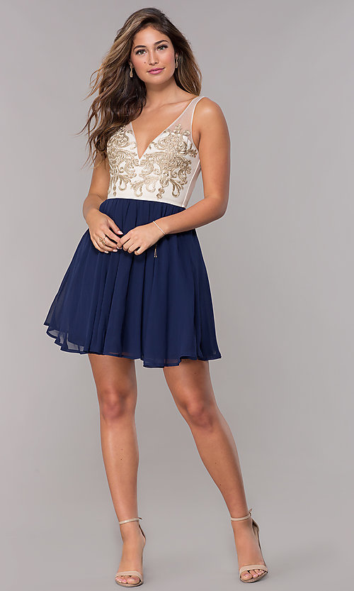 Image of sleeveless short homecoming dress with applique. Style: LP-27705 Detail Image 3