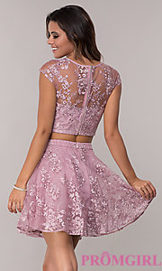 Image of two-piece embroidered-mesh homecoming dress. Style: LP-90141 Back Image