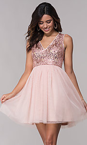 Image of sequin-bodice v-neck short tulle homecoming dress. Style: LP-27411 Front Image