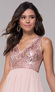 Image of sequin-bodice v-neck short tulle homecoming dress. Style: LP-27411 Detail Image 1
