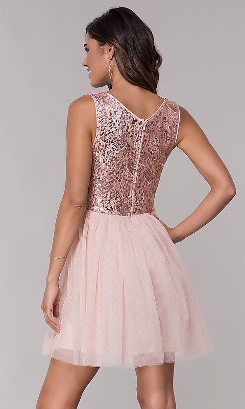 Image of sequin-bodice v-neck short tulle homecoming dress. Style: LP-27411 Back Image
