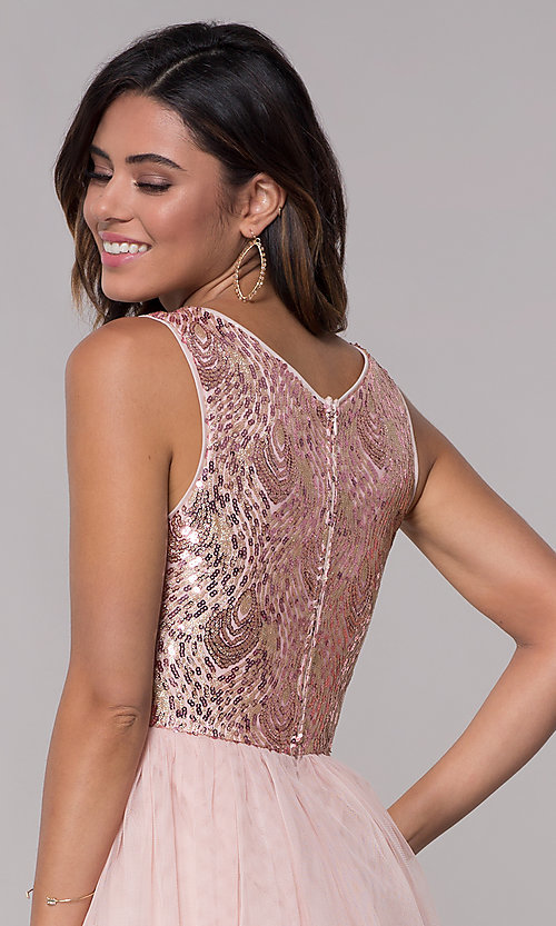 Image of sequin-bodice v-neck short tulle homecoming dress. Style: LP-27411 Detail Image 2