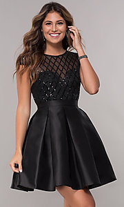 Image of short sequin-bodice satin homecoming dress. Style: LP-24748 Detail Image 5