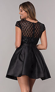 Image of short sequin-bodice satin homecoming dress. Style: LP-24748 Detail Image 6