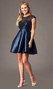 Image of short sequin-bodice satin homecoming dress. Style: LP-24748 Front Image