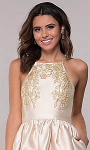 Image of short a-line homecoming dress with side pockets. Style: LP-25524 Detail Image 1