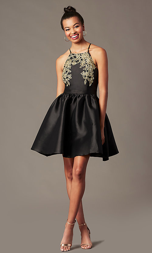 Image of short a-line homecoming dress with side pockets. Style: LP-25524 Detail Image 4