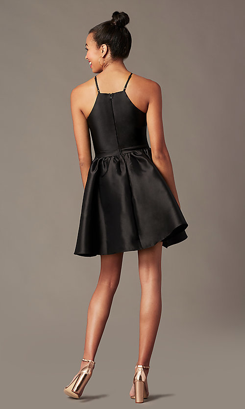 Image of short a-line homecoming dress with side pockets. Style: LP-25524 Detail Image 5