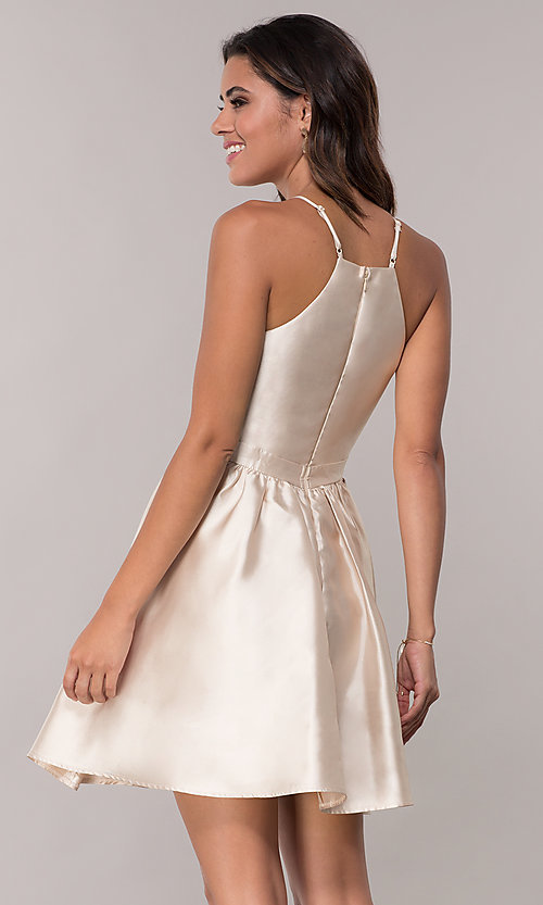 Image of short a-line homecoming dress with side pockets. Style: LP-25524 Back Image
