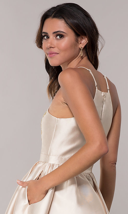 Image of short a-line homecoming dress with side pockets. Style: LP-25524 Detail Image 2