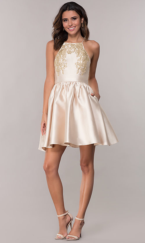 Image of short a-line homecoming dress with side pockets. Style: LP-25524 Detail Image 3