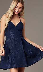 Image of v-neck a-line homecoming dress with pockets. Style: LP-25870 Detail Image 4