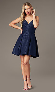 Image of v-neck a-line homecoming dress with pockets. Style: LP-25870 Detail Image 6