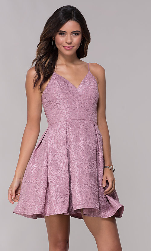 Image of v-neck a-line homecoming dress with pockets. Style: LP-25870 Front Image